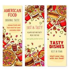 fast food restaurant welcome banner set design vector image vector image