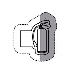 Figure emblem sticker extinguisher icon vector