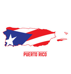 Flag and map of puerto rico vector