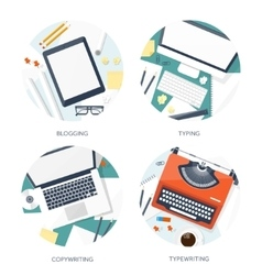 Flat typewriterlaptop with vector