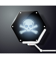 Futuristic screen with skull and crossbones vector image vector image