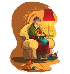 Grandmother sitting in armchair and knitting vector