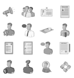Human resources icons set flat style vector