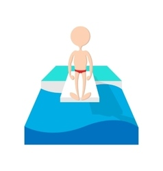Jumping in a pool cartoon icon vector image