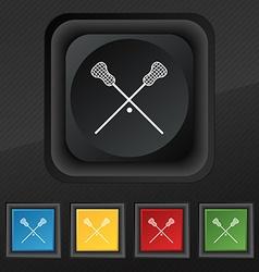 Lacrosse sticks crossed icon symbol set of five vector