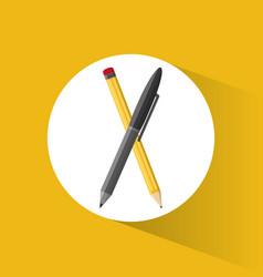 Pencil pen utensils school vector