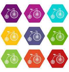 Penny-farthing icon set color hexahedron vector