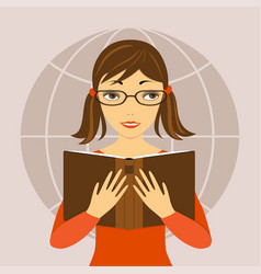 Pretty girl with book in the hend vector