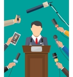 Public speaker and hands of journalists vector