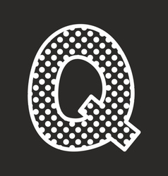 Q alphabet letter with white polka dots on black vector
