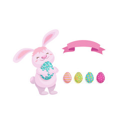 rabbit with easter egg decorated eggs set vector image