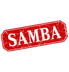 Samba red square vintage grunge isolated sign vector