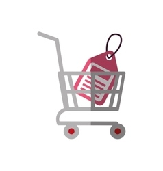 Shopping cart online price tag color shadow vector