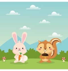 Squirrel and rabbit cartoon icon woodland animal vector