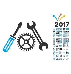 Tuning service icon with 2017 year bonus symbols vector