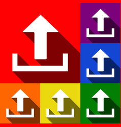 Upload sign set of icons vector