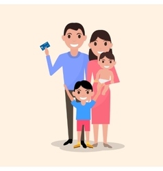 Happy family with a plastic credit card vector
