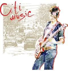 teenager girl playing guitar vector image
