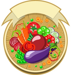 Vegetables sticker with ribbon vector