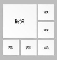 Square paper set mock up with shadow vector