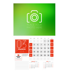 Wall calendar template for 2018 year march design vector