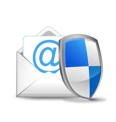3d mail with security shield vector
