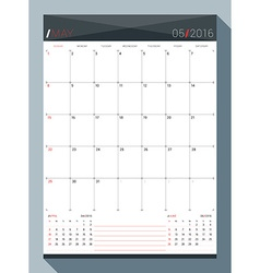 May 2016 design print template monthly calendar vector