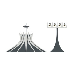 Metropolitan cathedral in brasil icon flat style vector