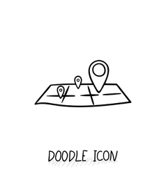 Doodle location icon Map pictogram vector image