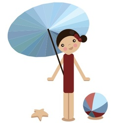peg doll girl on the beach in summer vector image