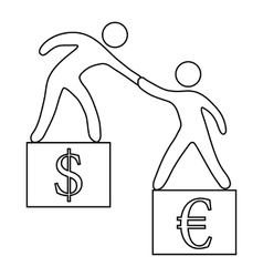 Euro vs dollar icon outline style vector