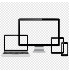 Set of modern digital devices mockup vector