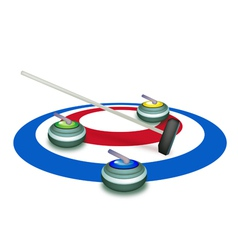 A collection of curling stones on ice sheet vector