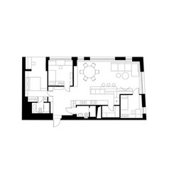 Architectural plan with the furniture vector