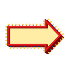 arrow with lamps retro glowing cursor with light vector image vector image