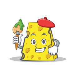 Artist cheese character cartoon style vector
