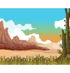 Beauty landscape background with desert vector