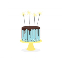 Birthday cake with frosting and sparklers vector