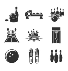 bowling icon set vector image