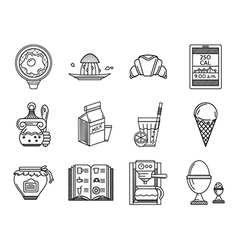 Breakfast line icons set vector