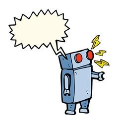 Cartoon robot with speech bubble vector