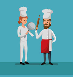 Chef male female working bakery labor day vector