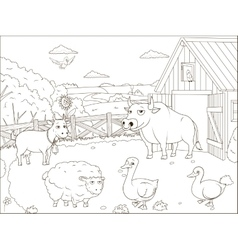 Coloring book farm cartoon educational vector image