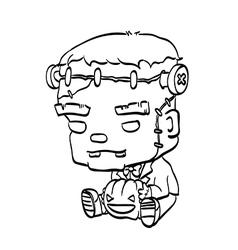 Cute halloween character frankenstein outline vector
