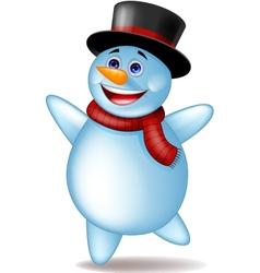 Cute happy snowman vector
