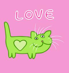 Cute heart cat cartoon character vector