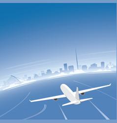 Dublin skyline flight destination vector