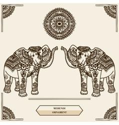 Elephant mehendi vector