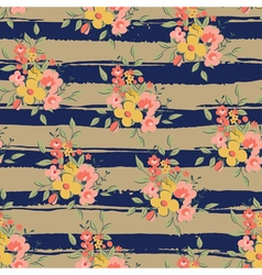 floral pattern with brown and blue stripes vector image vector image
