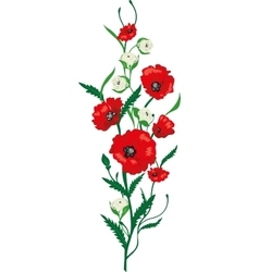 Flower poppies and roses bouquet vector